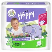 Подгузники Bella Baby Happy 12шт 9-20кг maxi плюс