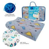 Подушка детская Save&Soft для сна 40*26*7/5 см голубой от 4-х лет сумка из пвх