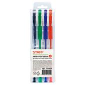 Набор ручек гелевых STAFF 4шт 0,5мм синий/черный/красный/зеленый 141826