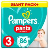 Трусики-подгузники Pampers Pants 86шт Midi 6-11кг 3 мега для мальчиков и девочек