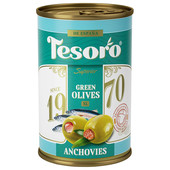 Оливки Тесоро 300гр с анчоусом ж/б